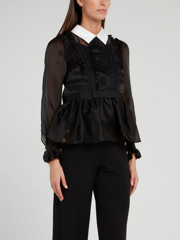 Black Lace Panel Peplum Blouse