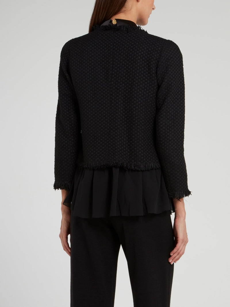 Black Frayed Woven Jacket