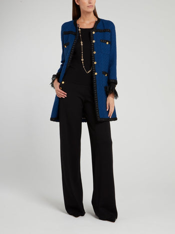 Navy Knitted Wool Coat