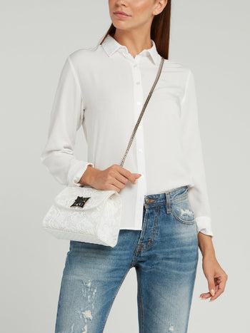 White Mignon Lace Shoulder Bag