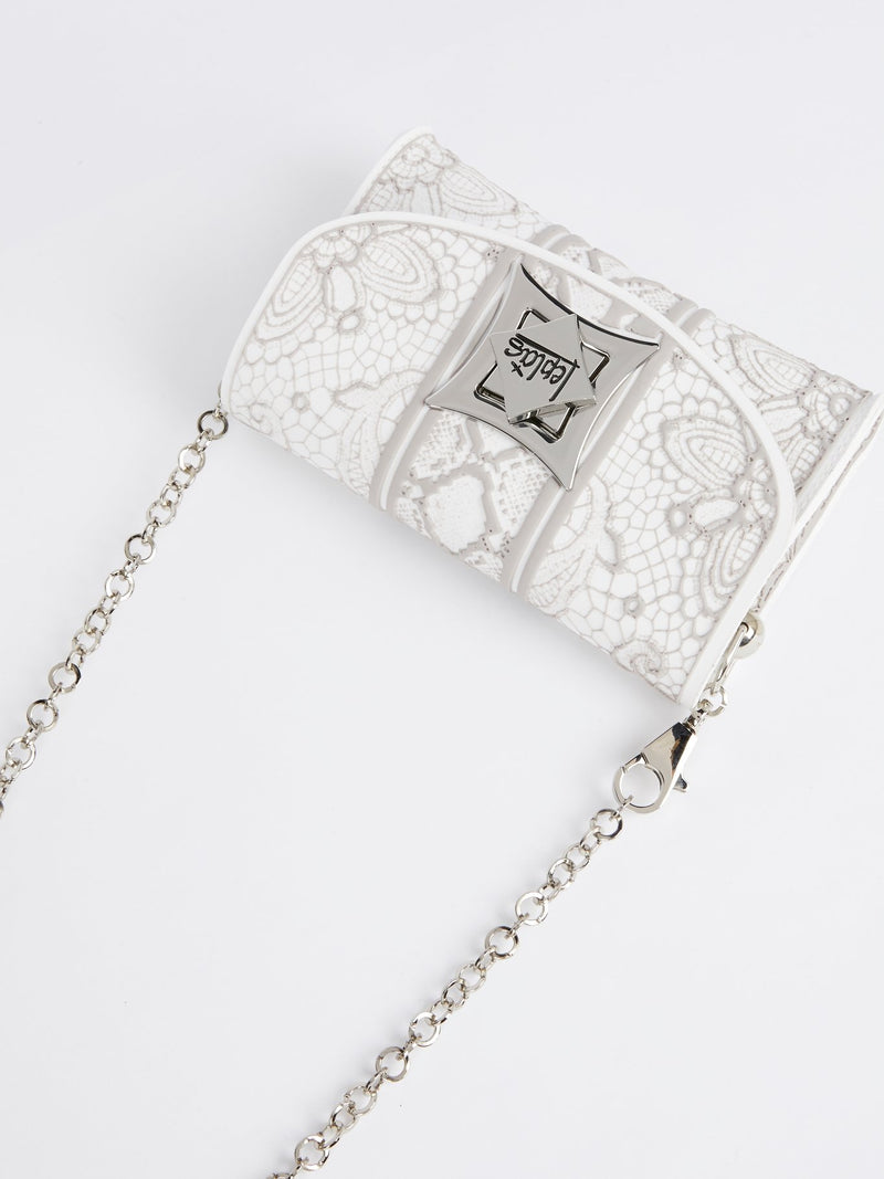 White Iris Lace Crossbody Bag