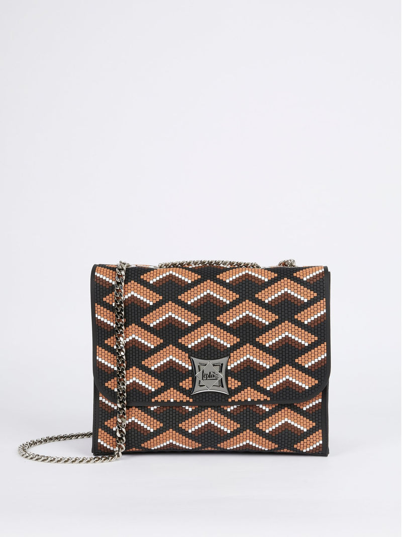Black-Brown Kassandra Navajos Squared Shoulder Bag