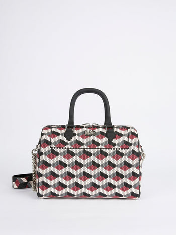 White-Red Navajos Squared Top Handle Bag