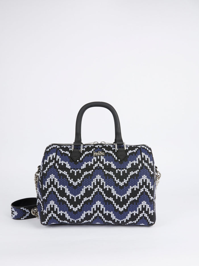 Navy Bauletto Grande Navajos Quadratini Top Handle Bag