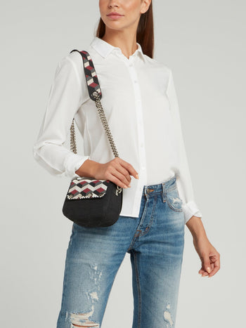 White-Red Mini Dafne Navajos Squared Shoulder Bag