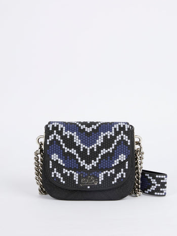Navy Mini Dafne Navajos Quadratini Shoulder Bag