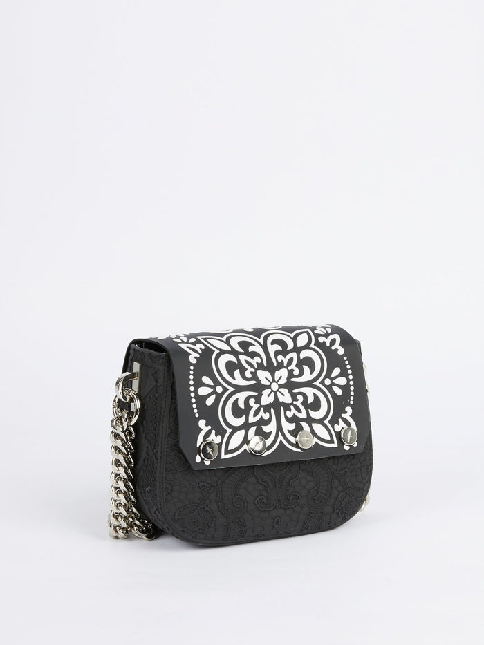 Black Mini Dafne Azulejos Shoulder Bag