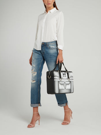 Black and White Nikandros Optical Duffle Bag