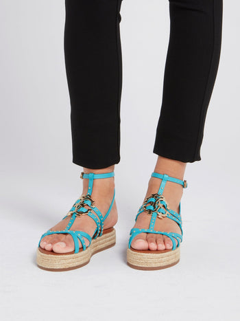 Blue Espadrille Gladiator Sandals