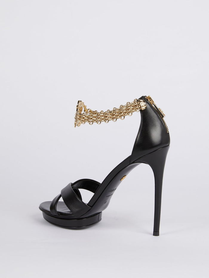 Black Monogram Link Ankle Strap Sandals