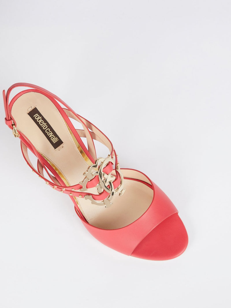 Pink Monogram Slingback Leather Sandals