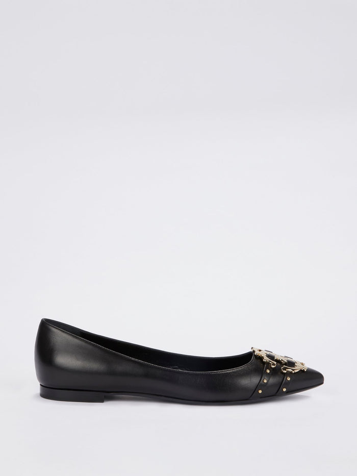 Black Leather Monogram Ballerina Flats