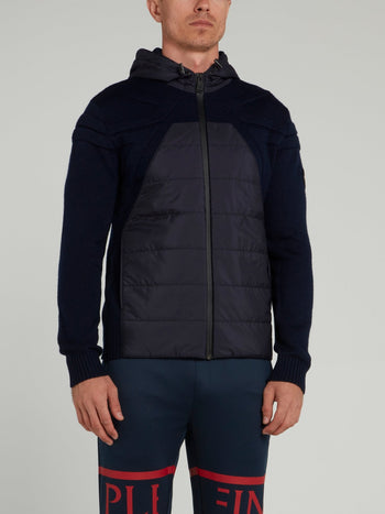 Navy Quilted Knit Jacket