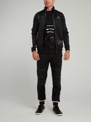 Black Scratch Print Jogging Jacket