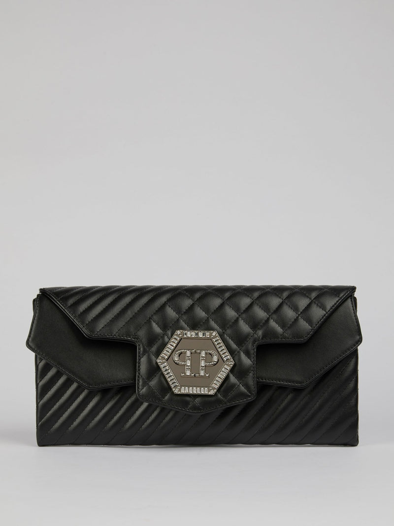 Studded Logo Quilted Clutch Bag