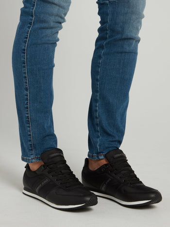 Black Mesh Panel Lace Up Sneakers