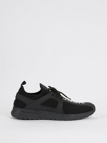 Black Mesh Logo Sneakers