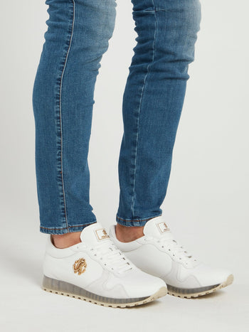 White Embellished Leather Sneakers