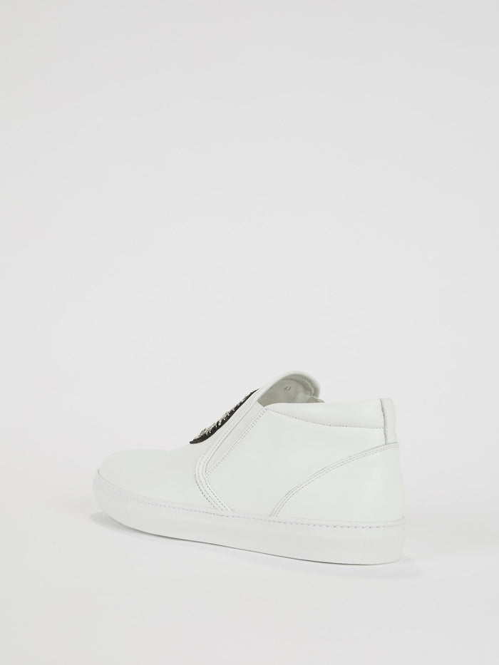 White Monogram Embroidered Leather Sneakers