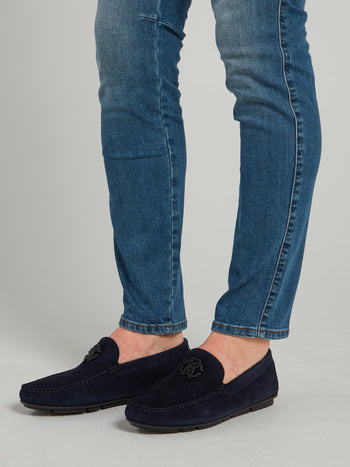 Navy Suede Logo Loafers