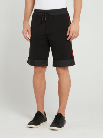 Black With Side Line Detail Shorts