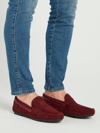 Burgundy Suede Logo Loafers