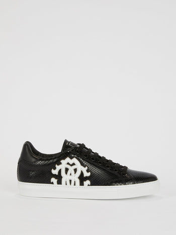 Black Snake Skin Textured Logo Sneakers