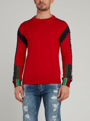 Red Logo Sleeve Knitted Pullover