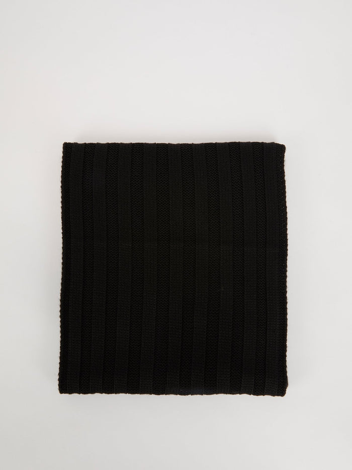 Black Wool Acrylic Scarf