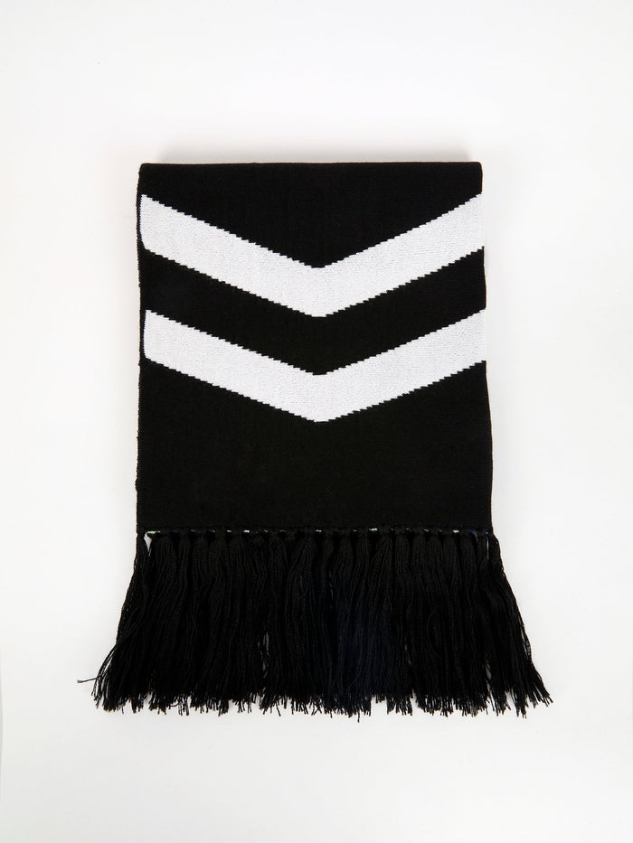 Black Chevron Frayed Scarf