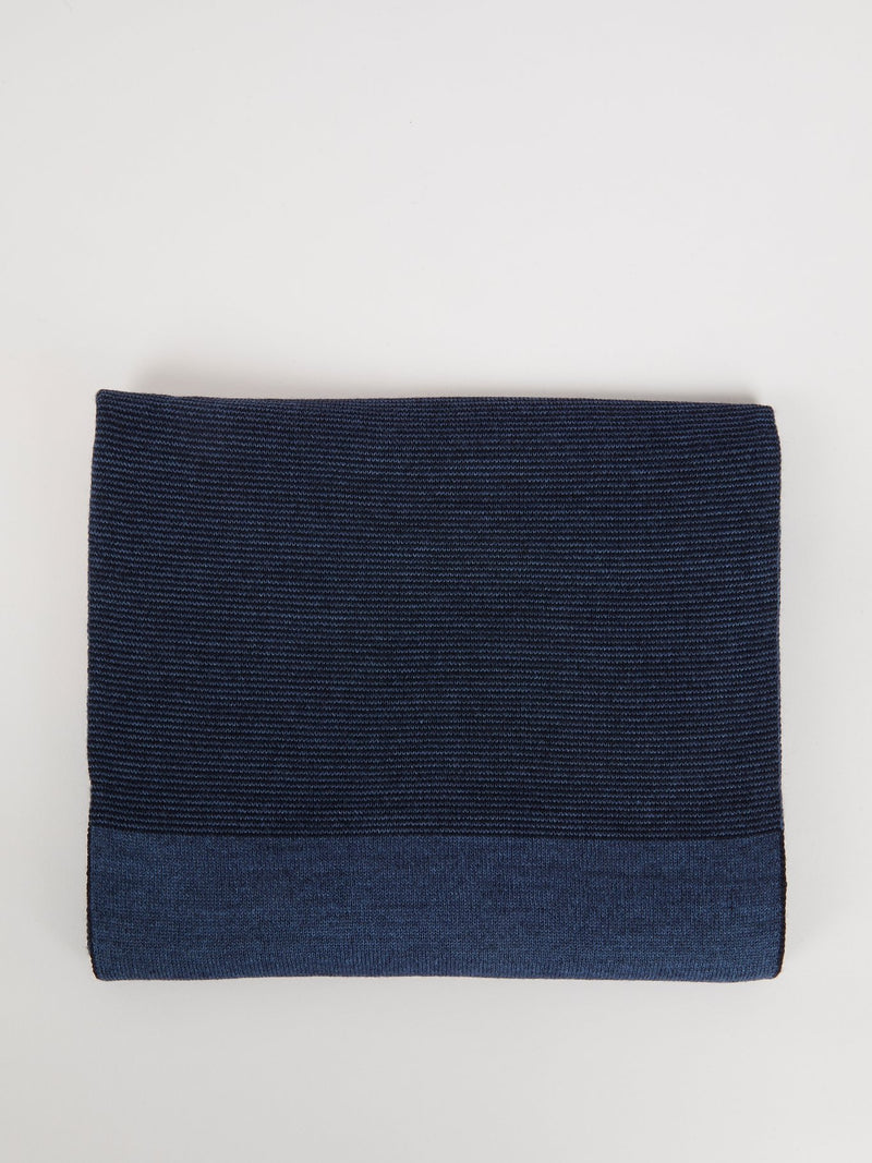 Navy Ribbed Logo Scarf