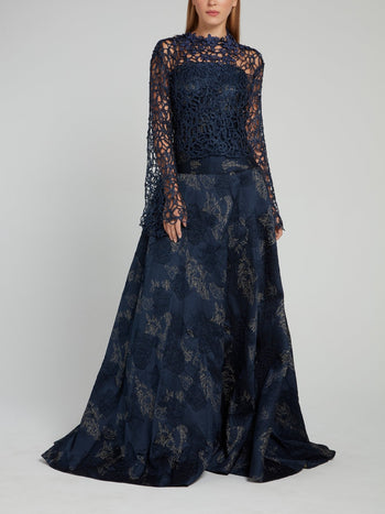 Navy Floral Embellished Maxi Dress
