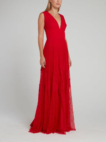 Red Pleated Lace Panel Maxi Dress