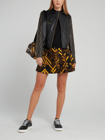 Baroque Print Pleated Circle Skirt