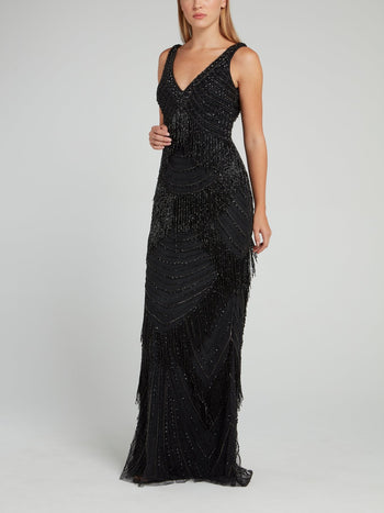 Black Beaded V-Neck Dress