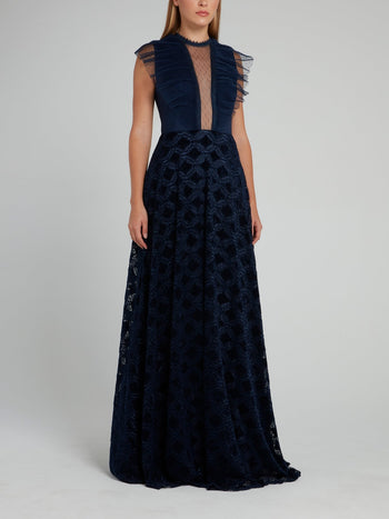Navy Tulle Panel Maxi Dress