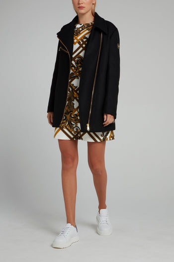 Black Zipper Embellished Coat