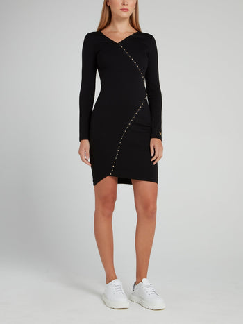 Black Studded Asymmetric Dress
