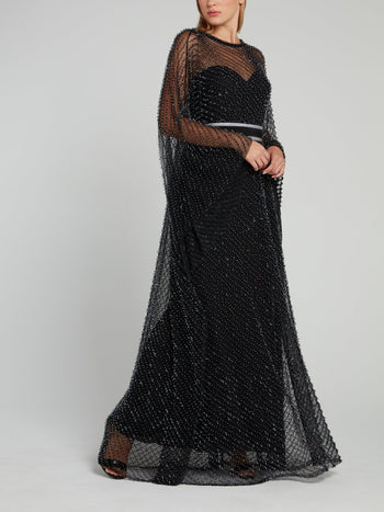 Black Multi-Bead Maxi Dress