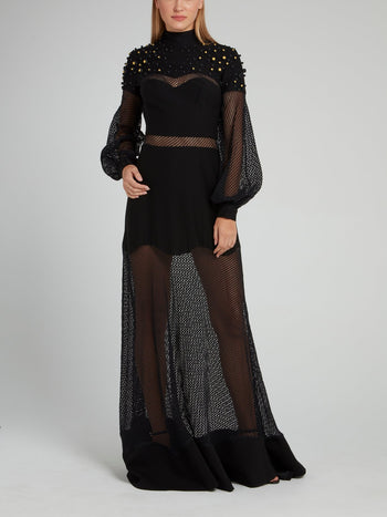 Black Net Mesh Embellished Maxi Dress