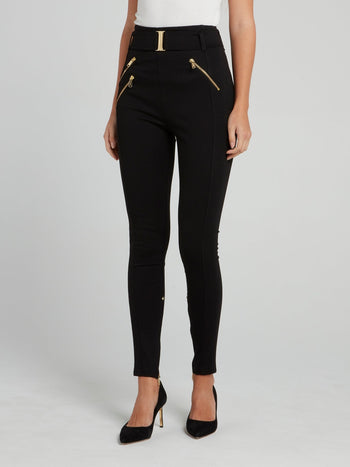 Black Belted Zip Leggings