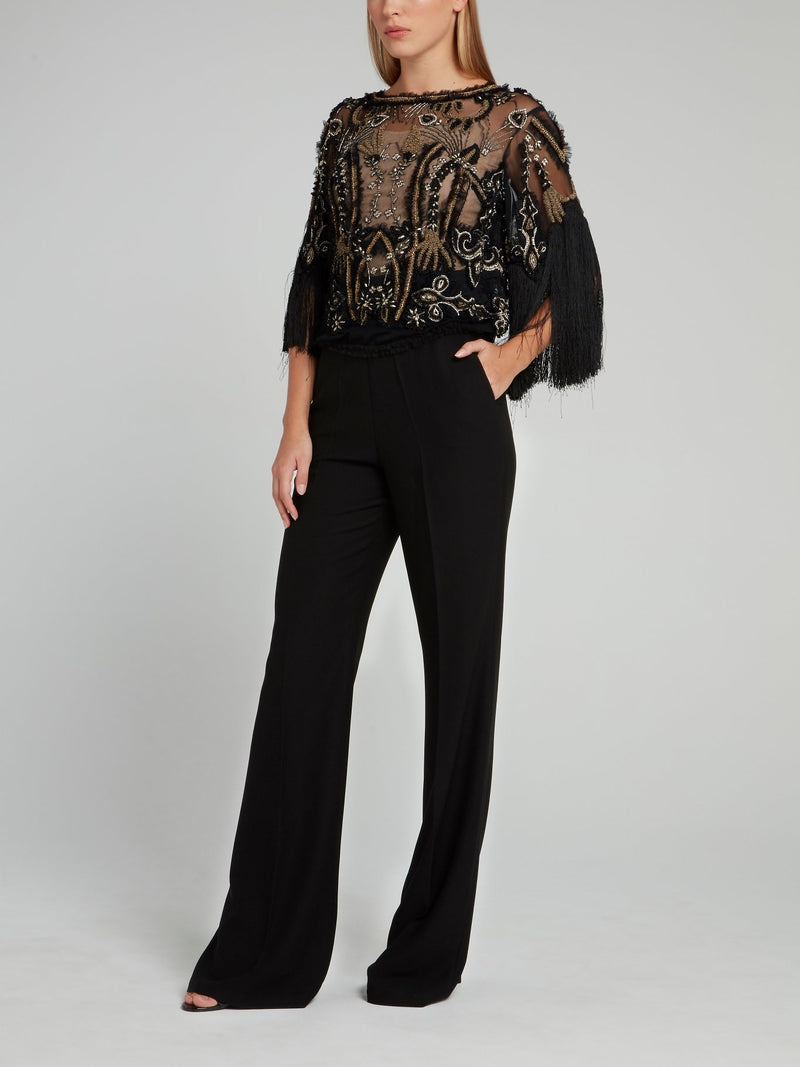 Black Fringe Sleeve Beaded Top