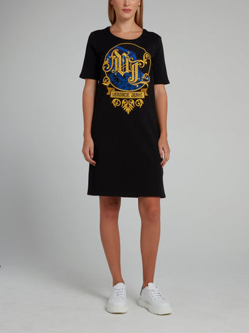 Black Embroidered T-Shirt Dress