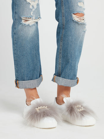 Pearl Embellished Fur Slip On Sneakers