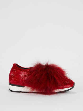 Red Slip On Fur Sneakers