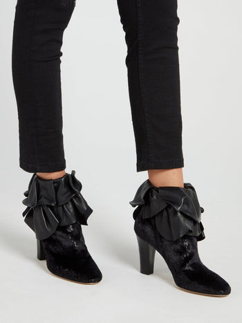 Black Ruffle Top Ankle Boots