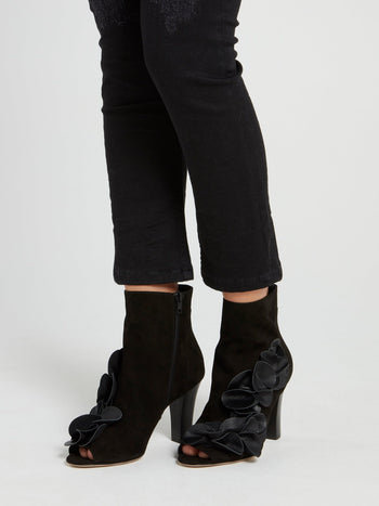 Black Flower Embellished Ankle Boots