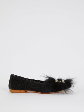 Black Embellished Sheep Fur Loafers