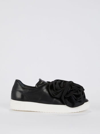Black Rose Slip On Sneakers