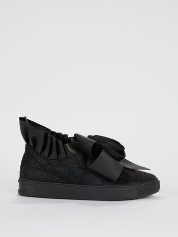 Graciela Black Ribbon Detail Sneakers